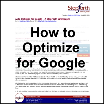 How to Optimize for Google - Free for registered participants.